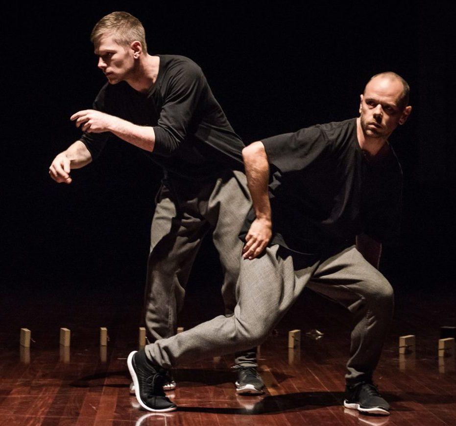 Publicity photo of Antony Hamilton and Alisdair Macindoe on stage