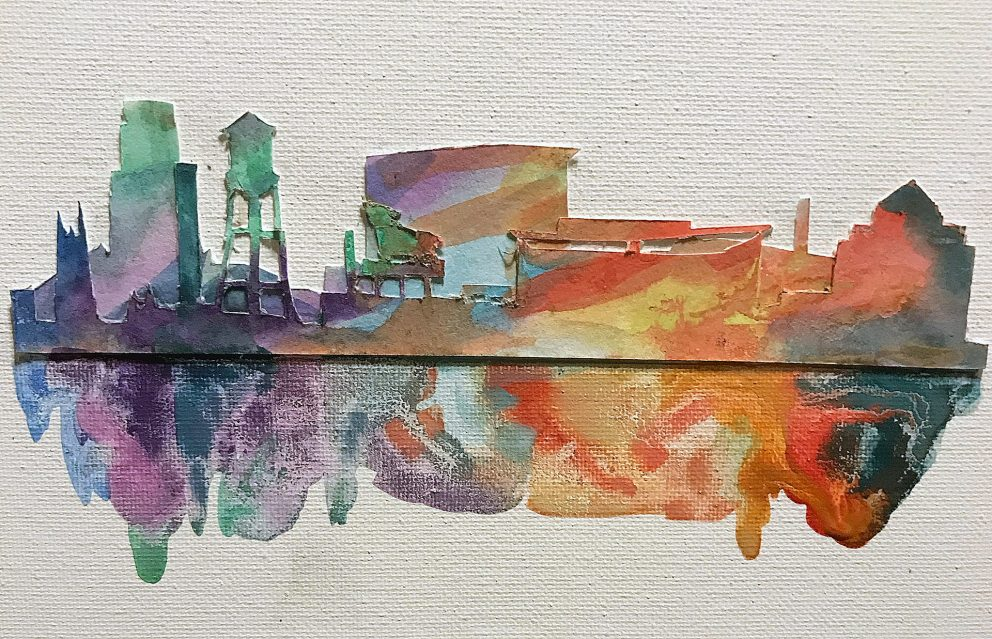Fanciful watercolor image/cutout showing Durham landmarks