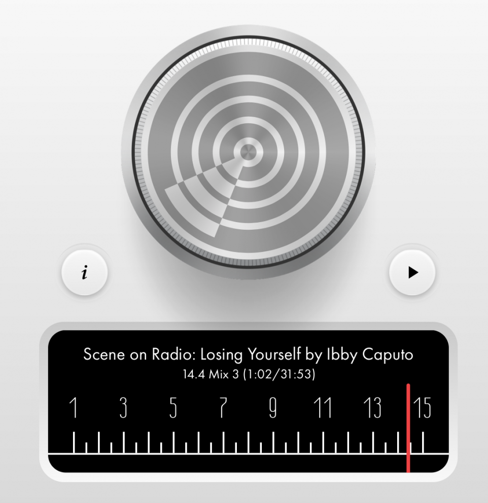 Screen shot of a website controls that mimic a radio tuner