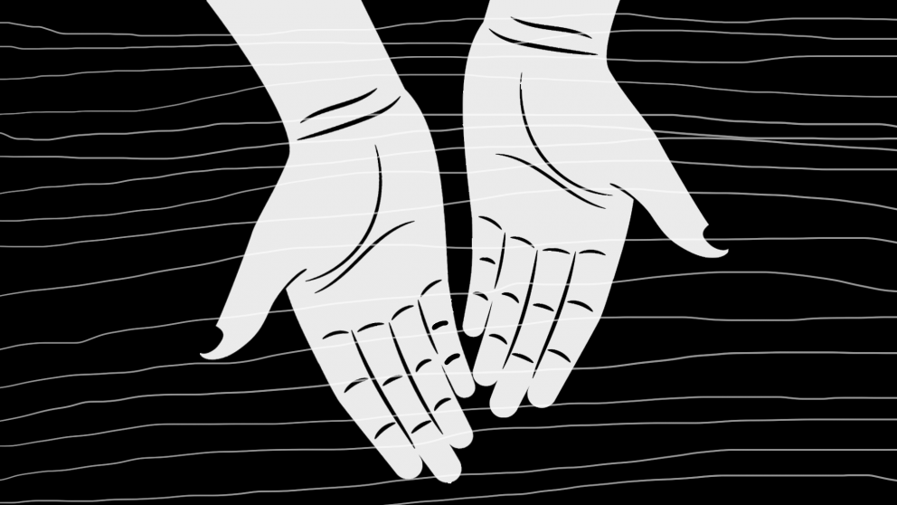 2 hands in black and white pointed downward.